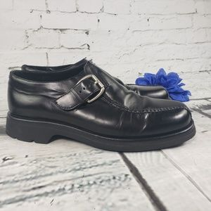 Cole Haan Loafers Black Leather Buckle Vibram 9